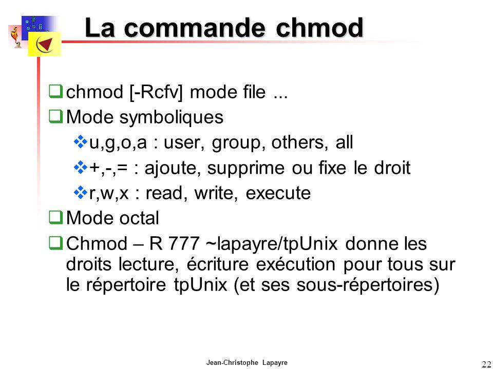 La commande chmod chmod [-Rcfv] mode file ... Mode symboliques
